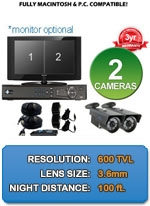 MAC and Windows Compatible H.264 1080p HD - Complete 2 Camera Video Security Camera System - 2CH-HPV650-KIT