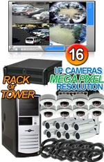 High Definition Megapixel 16 IP Camera Combo System - Bullets and Vandal Proof Domes
