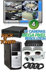 High Definition Megapixel 4 IP Camera Combo System - Bullets and Vandal Domes
