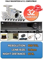 MAC and Windows Compatible H.264 1080p HD - Complete 32 Camera Video Security Camera System - 32CH-NIGHTGUARD650W-KIT