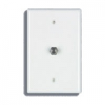 Single F to F Type Connection - Wall Plate - White
