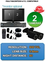 MAC and Windows Compatible H.264 1080p HD - Complete 2 Camera Video Security Camera System - IMAX-2CH-IMAX-BL650IRB-KIT