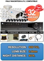 MAC and Windows Compatible H.264 1080p HD - Complete 32 Camera Video Security Camera System - IPIX-32CH-BL650IRW-KIT