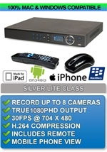 Silver Lite Class: 8 Channel High Definition Enterprise Class DVR - Apple IPHONE MAC OSX Windows PC Compatible