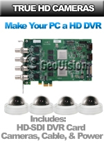 GV-HDSDI-4CH-CD221V-KIT - 1080P HD Video Over Existing Coax - 4 Channel High Definition HDSDI Indoor Dome Camera Kit